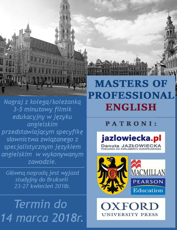 Plakat konkursu Masters of professional English